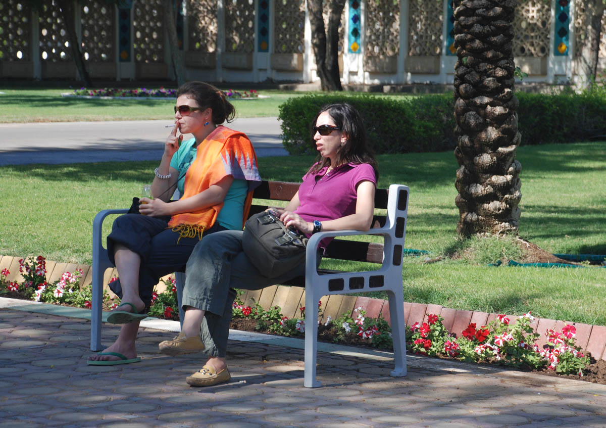 From Left To Right: Canan Cakilar And Lubna Omar Resting At Hili  Archaeological Park (Photograph By Mark Beech)