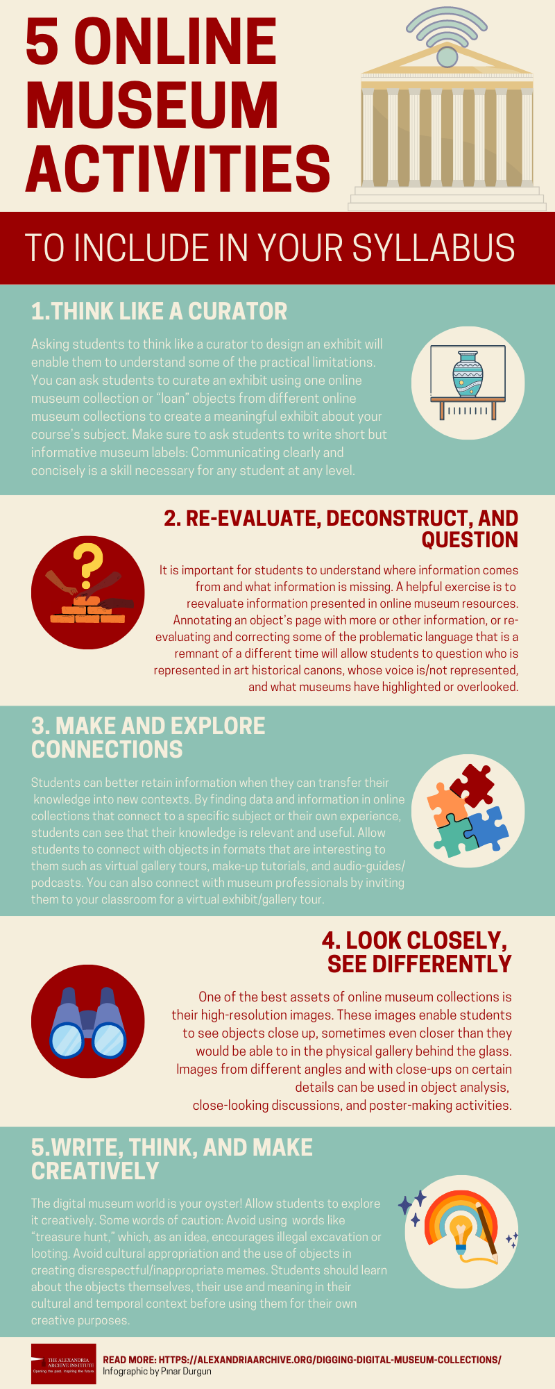 The infographic summarizes the five activities discussed in the Resource with small images that relate to the activity: a vessel in a display case (for think like a curator), a wall construction and question mark (for re-evaluate, deconstruct, and question), puzzle pieces (for make and explore connections), a magnifying glass (for looking closely), and a rainbow with a light bulb and pen (for creativity).