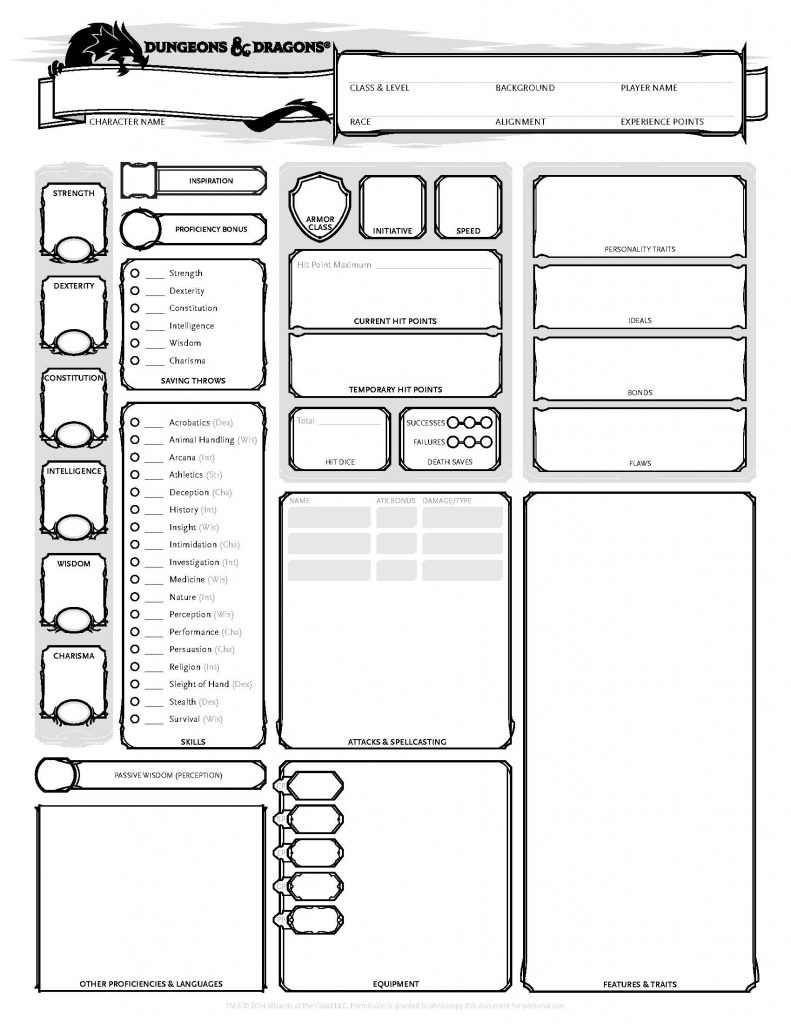 A series of black-outlined boxes on a white background make a form to fill in. The form is a character sheet, commonly used in roleplaying games like Dungeons and Dragons.