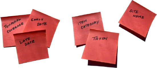 "Pink sticky notes are covered with words like, ""Temporal Coverage,"" ""Late Date,"" and ""Taxon""."