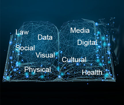 A book that looks like a neural network with law data social visual physical cultural media digital and health written on it
