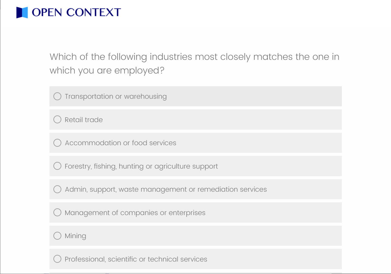 A screencap of survey questions that are an example of a text based survey