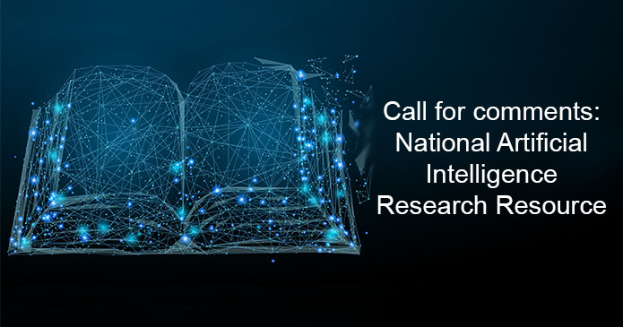 """A book that looks like a neural network with """"Call for comments: National Artificial Intelligence Research Resource"""" written next to it"""