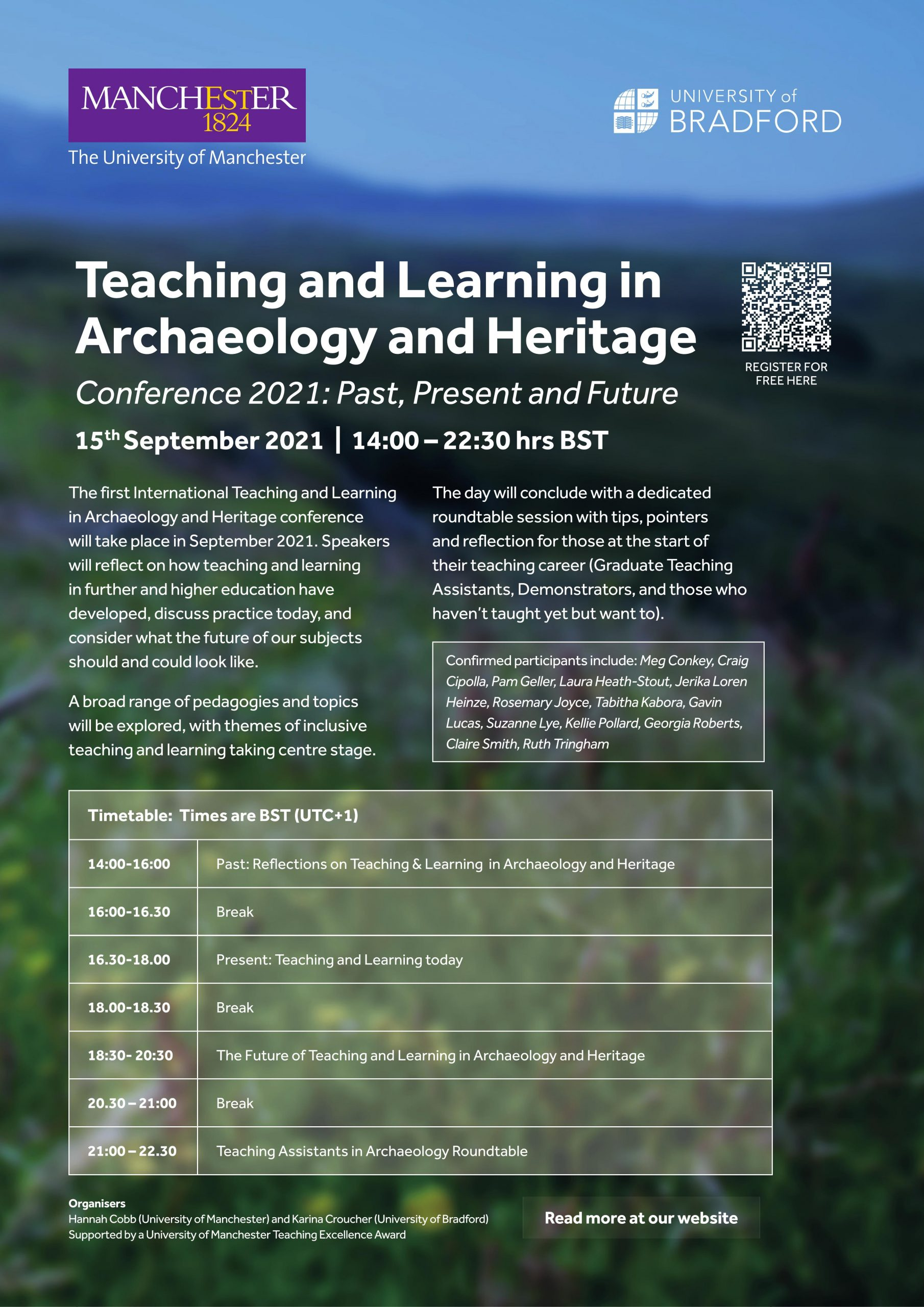 The advertising poster for the Teaching and Learning in Archaeology and Heritage conference has all the details for it and the PDF is available here: https://archaeologytandl.files.wordpress.com/2021/09/teachinglearninginarchheritage_programme-5.pdf
