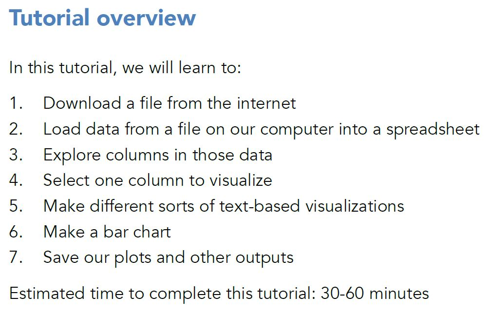 A list of the key concepts from the Cow-culating your data tutorial, these incldue: 1. Download a file from the internet 2. Load data from a file on our computer into a spreadsheet 3. Explore columns in those data 4. Select one column to visualize 5. Make different sorts of text-based visualizations 6. Make a bar chart 7. Save our plots and other outputs Estimated time to complete this tutorial: 30-60 minutes