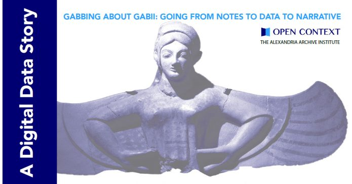 The heading image for our new data story Gabbing about Gabii: Goin from notes to data to narrative; an archaeological depictions of a harpy as a statue or cut relief is on a white background with a Digital Data STory running along the side