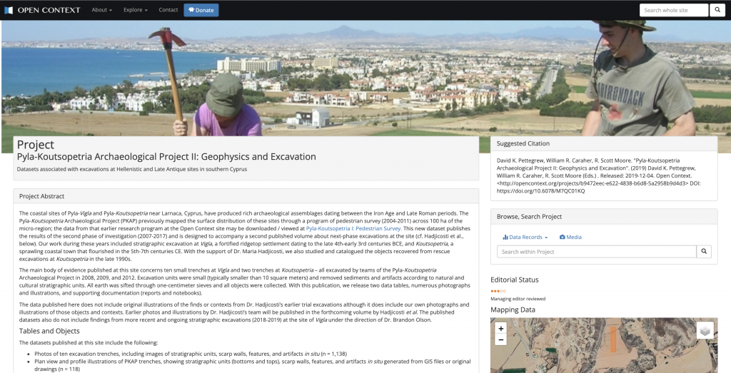 A screenshot from PKAP in Open Context. Image of excavators at the top with cityscape in the background at the top of the image. Project Abstract, Suggested Citation, Search Bar, and other project information underneath.